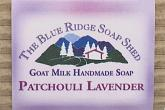 Wrapped bar of Patchouli Lavender Goat Milk Soap photo