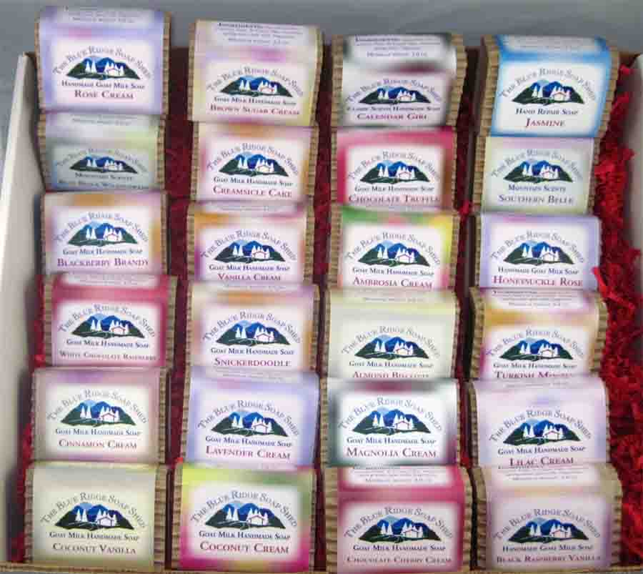 A Gift Box with 24 Soaps, shea butter, Dead Sea salts and hard wood soap dish